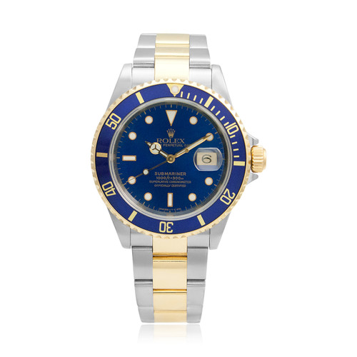 4fe5183f1 Rolex Submariner Blue Dial Stainless Steel 18K Gold Two-Tone Automatic  Men's Watch 16613 Front