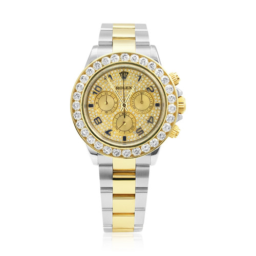 5d22e269640f Rolex Daytona Stainless Steel 18K Gold Diamond Two-Tone Automatic Men s  Watch 116523 Front View