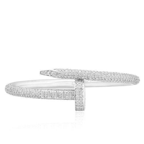 c6569c075ec 14k White Gold 11.5ct Diamond Nail Bracelet - Shyne Jewelers