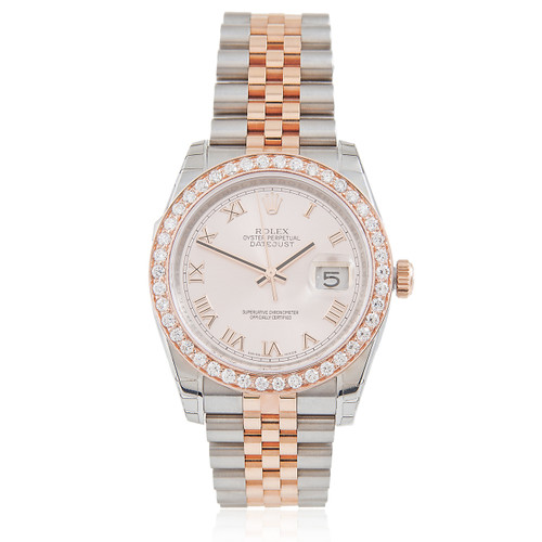57cb1d22ea2 Rolex DateJust 18k Rose Gold and Stainless Steel 1.68ct Diamond Automatic  Men's Watch