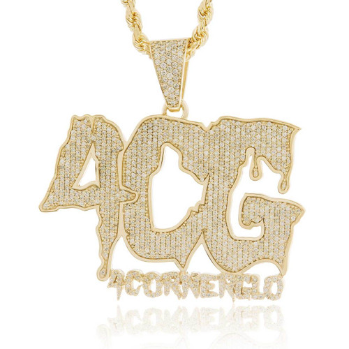 10k Yellow Gold Custom Diamond '4CG' Pendant