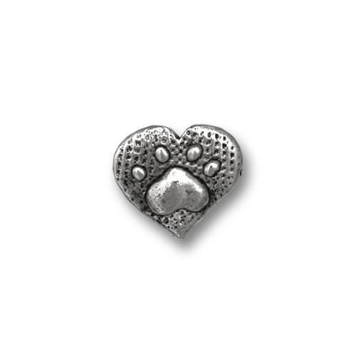 Pewter Paw Print Heart Lapel Pin