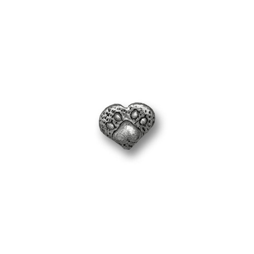 Pewter Paw Print Heart Small Lapel Pin