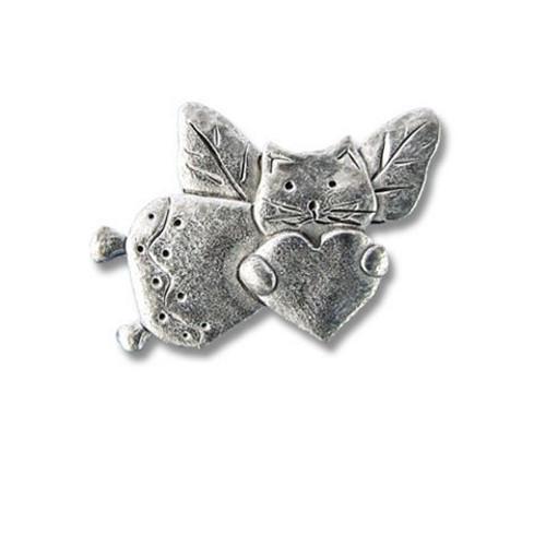 Pewter Cat Angel Lapel Pin