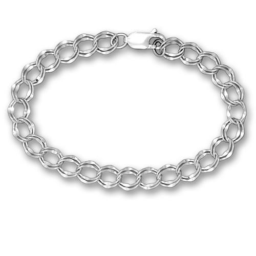 "Sterling Silver Charm Bracelet - 8.25"""
