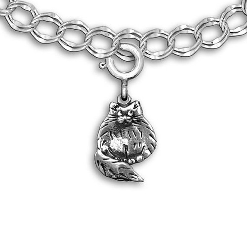 Sterling Silver Fat Cat Charm