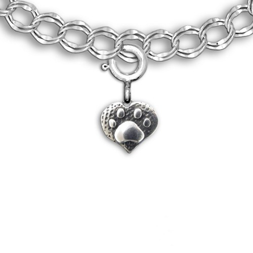 Sterling Silver Paw Print Heart Charm