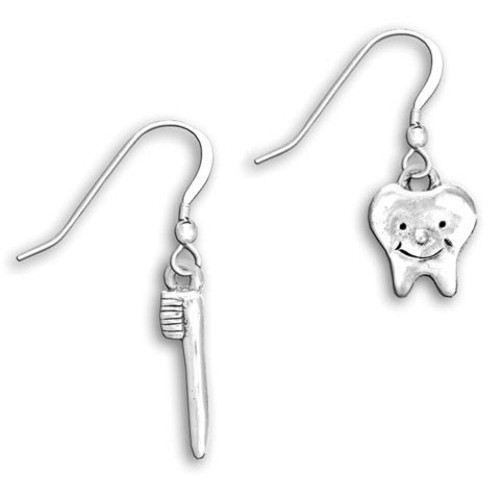 Sterling Silver Tooth and Toothbrush Earrings