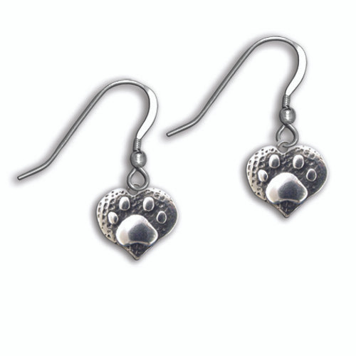 Sterling Silver Paw Print Heart Earrings