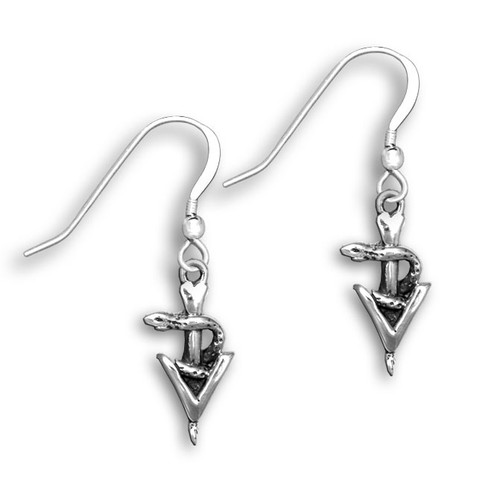 Sterling Silver Small Veterinary Caduceus Earrings