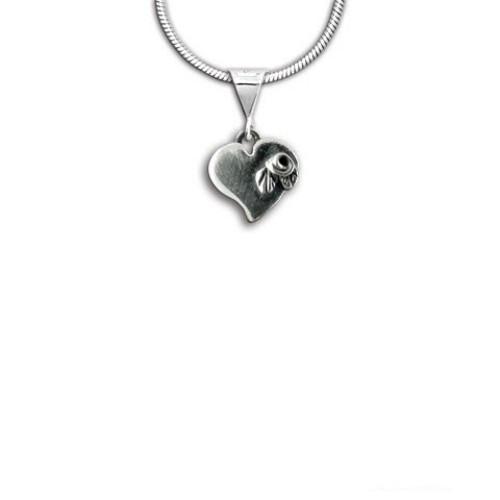 Sterling Silver Rose Heart Pendant