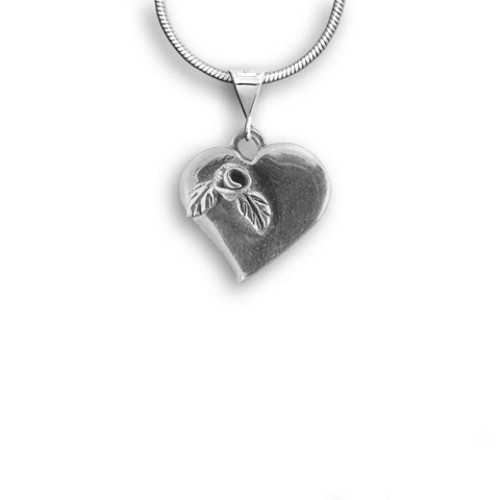 Sterling Silver Rose Heart Large Pendant