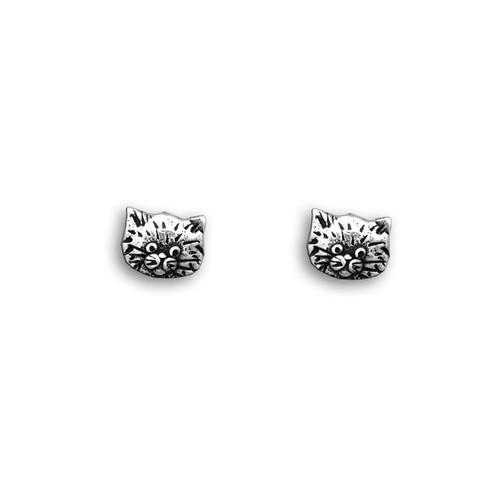 Sterling Silver Fat Cat Post Earrings