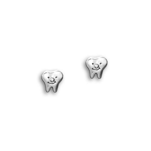 Sterling Silver Smiling Teeth Post Earrings
