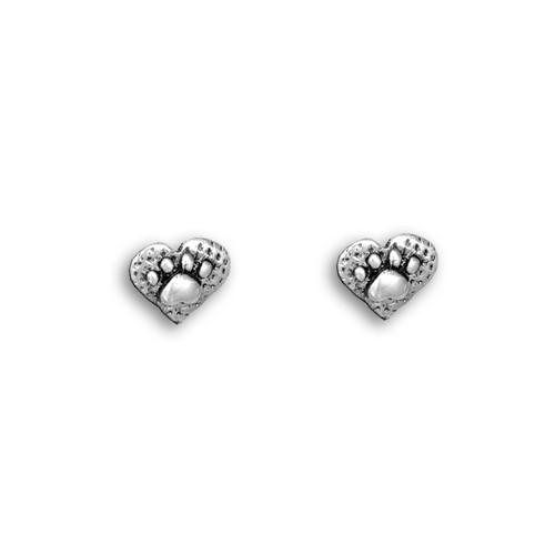 Sterling Silver Paw Print Heart Post Earrings
