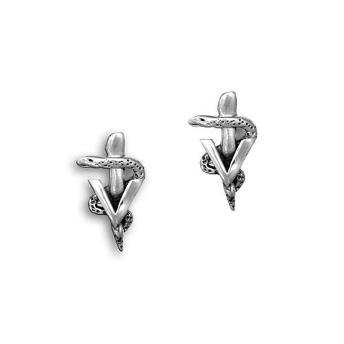 Sterling Silver Veterinary Caduceus Post Earrings