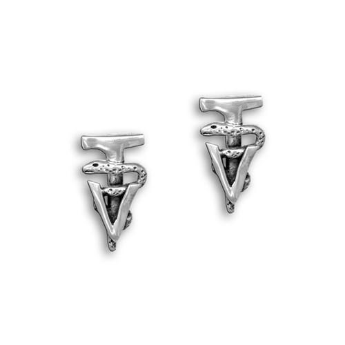 Sterling Silver Veterinary Technician Caduceus Post Earrings