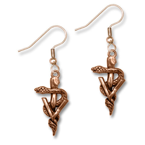 Bronze Veterinary Caduceus Earrings