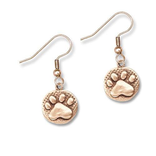 Bronze Paw Print Earrings
