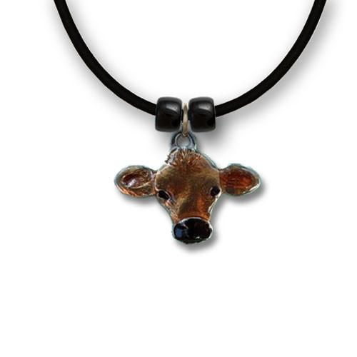 Enamel Jersey Cow Necklace
