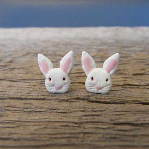 Enamel White Rabbit Post Earrings