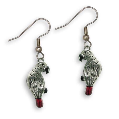 Enamel African Grey Parrot Earrings