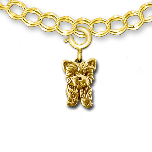 14K Solid Gold Yorkie Puppy Charm