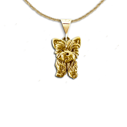 14K Solid Gold Yorkie Puppy Pendant