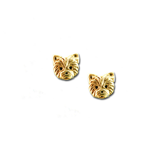 14K Solid Gold Yorkie Puppy Post Earrings