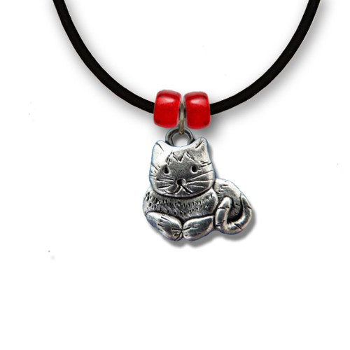 Pewter Sitting Tabby Cat Necklace