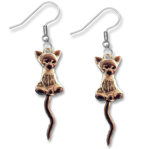 Enamel Siamese Cat Earrings