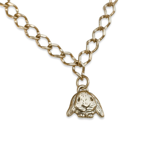 14K Solid Gold Lop-Eared Rabbit Charm