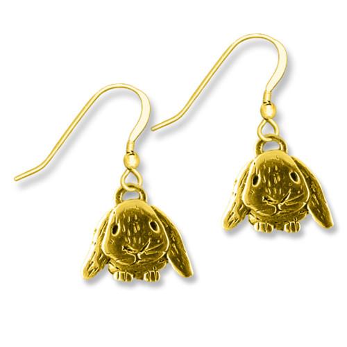 14K Solid Gold Lop-Eared Rabbit Earrings