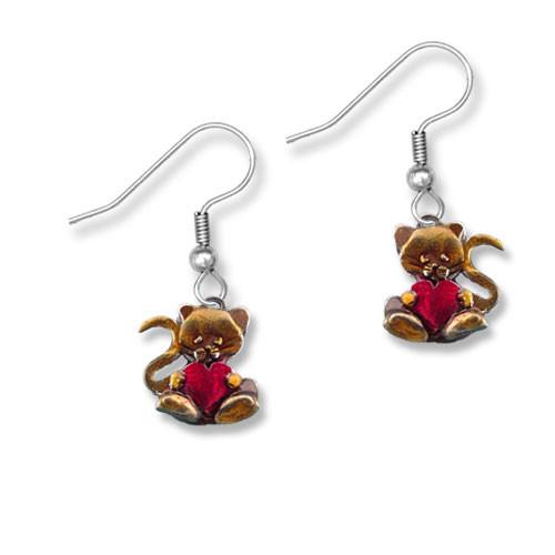 Enamel Valentine Cat Heart Earrings