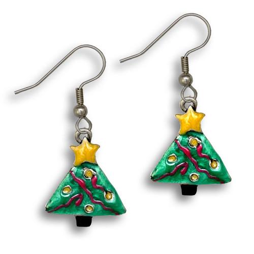 Enamel Christmas Tree Earrings