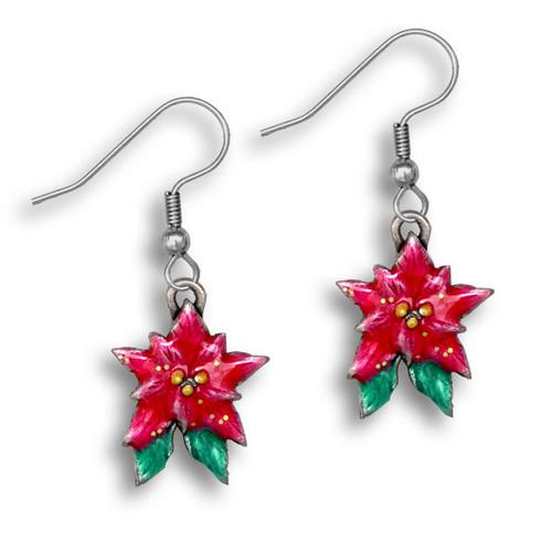 Enamel Poinsettia Earrings
