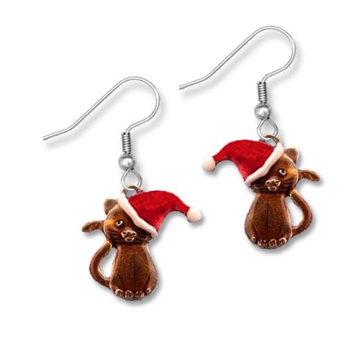 Enamel Santa Cat Earrings
