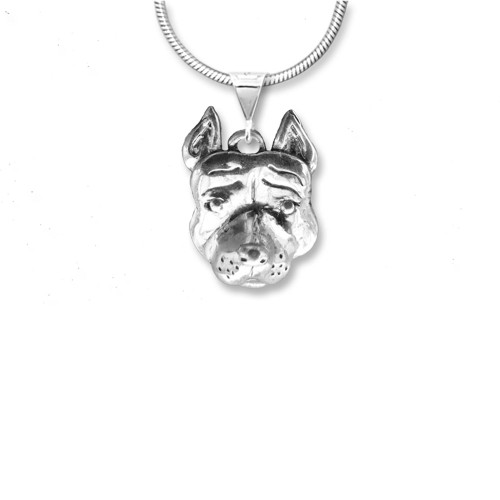 Sterling Silver Pit Bull with Cropped Ears Pendant