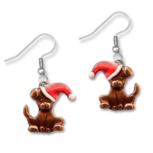 Enamel Santa Dog Earrings