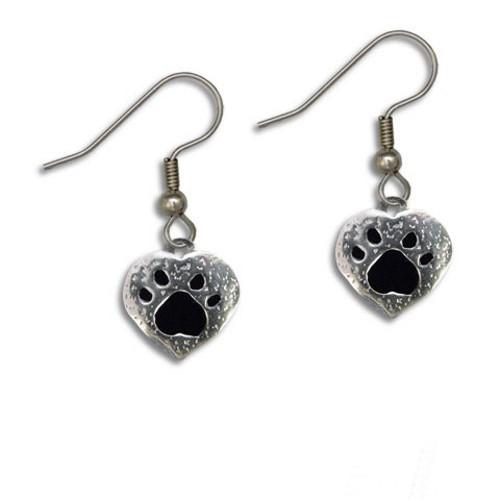 Enamel Black and Pewter Paw Print Heart Earrings