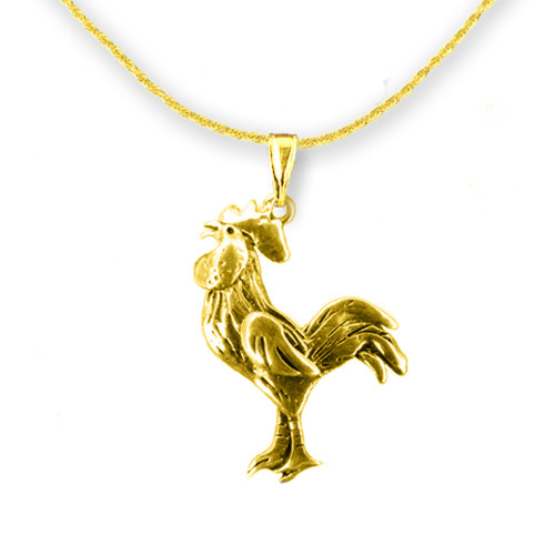 14K Solid Gold Rooster Pendant