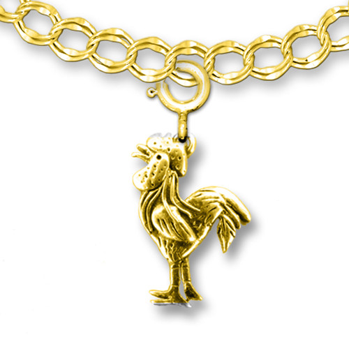 14K Solid Gold Rooster Charm