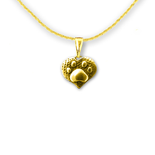 14K Solid Gold Paw Print Heart Pendant