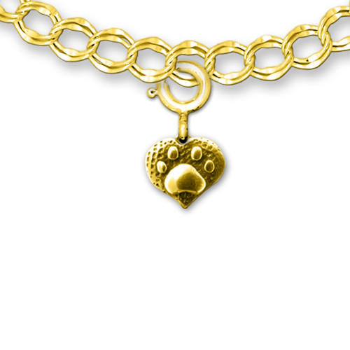 14K Solid Gold Paw Print Heart Charm