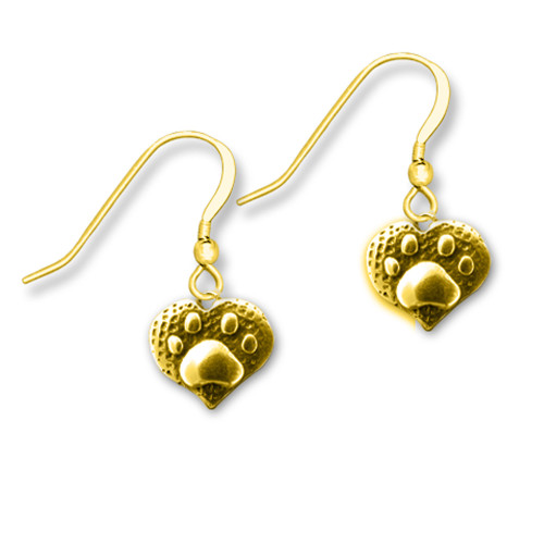 14K Solid Gold Paw Print Heart Earrings