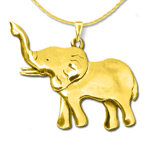 14K Solid Gold Elephant Full Body Large Pendant