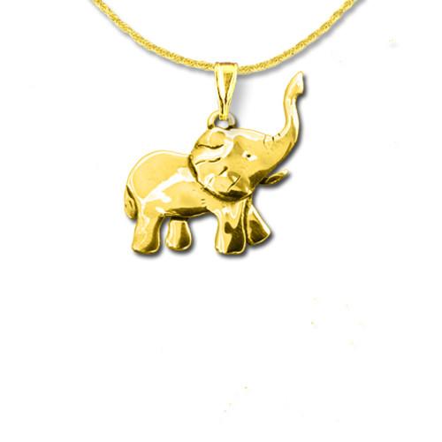 14K Solid Gold Elephant Full Body Pendant