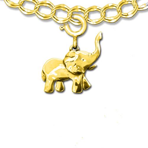 14K Solid Gold Elephant Full Body Charm
