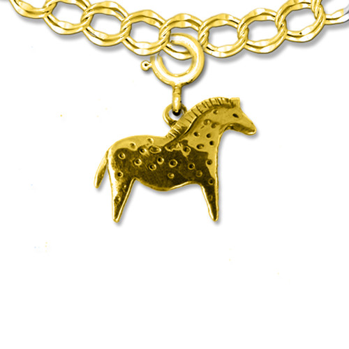 14K Solid Gold Spotted Cave Horse Charm
