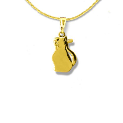 14K Solid Gold Kitten Pendant